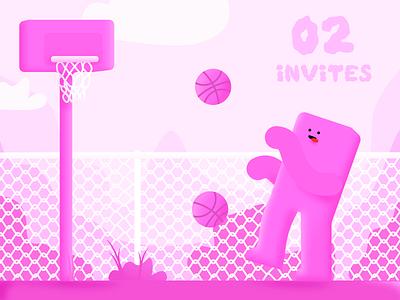 2 invites! clean minimal inspiration illustration fence basketball pink blocks invite invites