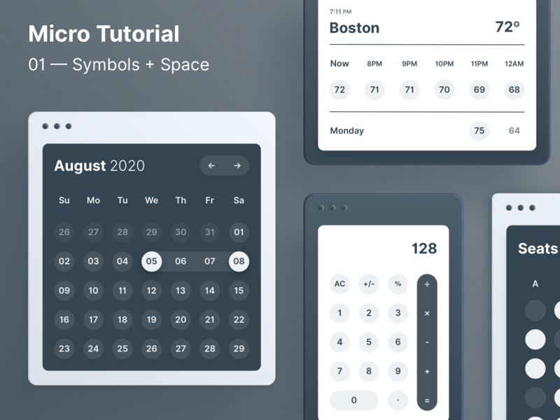 How to make a Calendar with 6 symbols. seating calculator design clean minimal weather how to how grid ui calendar tutorial