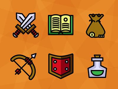Adventuring Items dnd potion book swords arrow shield