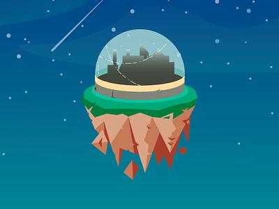 Dome City game art city illustration gradient