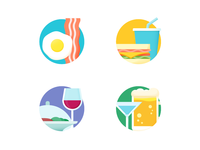 Breakfast Lunch Dinner Drinks Illustrated Icons