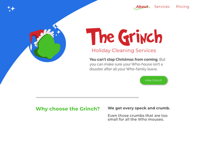 Grinch Cleaning Services mock the halls home page branding mockthehalls
