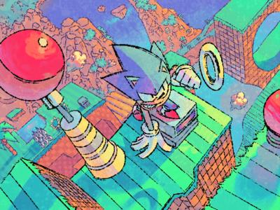 Green Hill illustration sonic the hedgehog