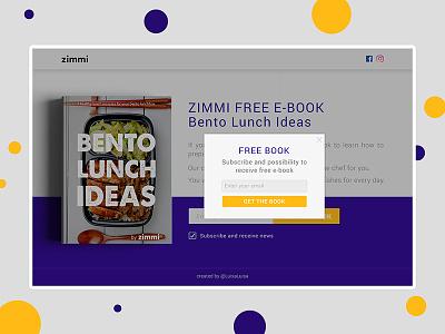 Landing design lunch idea logo bento recipes subscribe e-book free book landing design