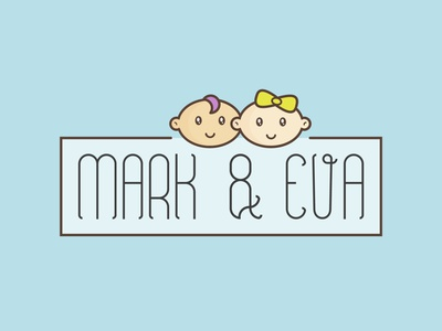 Logo Mark&Eva girl boy shop иллюстрация store marketplace goods items children adobe illustrator vector логотип illustration logo