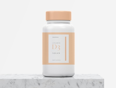 Label Vitamin fiverr vector logo branding packaging design cap bottle color pink peach adobe illustrator amazon germany health vegan vitamin d d12 d3 vitamin label