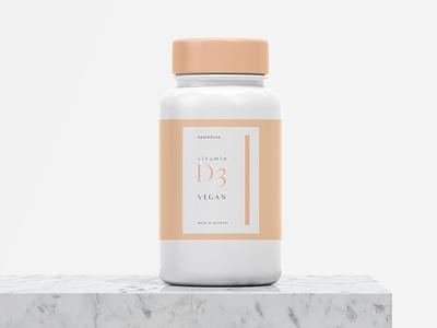 Label Vitamin fiverr vector logo branding packaging design cap bottle color pink peach adobe illustrator amazon germany health vegan vitamin d d12 d3 vitamin label