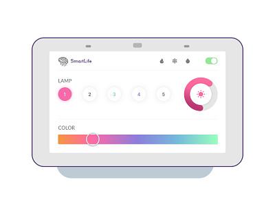 App Smart Home brain logo blue violet pink orange color smart warm heat fire number moisture cold life smart home lamp app design design app