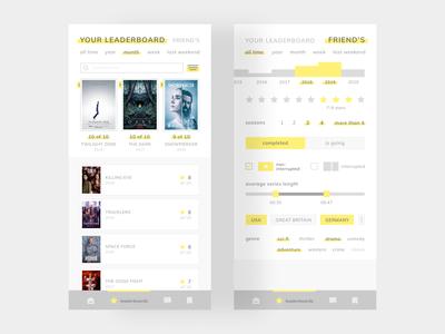 Leaderboard sorting genre challenge filter movie day 19 daily ui chart star show series weekend week time month year friend leaderboard