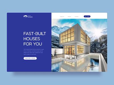Website Fast-Built Houses real estate design main page building service store sales marketplace eshop ecommerce figma ux ui web design website web