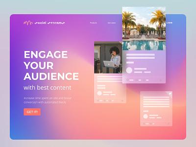 Website Social Streams graphic design wordpress btc btb figma web website design ux ui main page