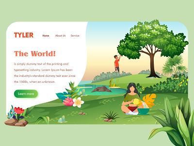 Web Header - Tyler illustration green sketch figma xd landing page web ui ui design header design ui web header