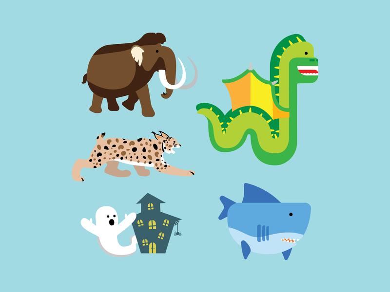 Animals and Creatures creature ghost mammoth leopard sea monster vector ui cute illustration design animal logo