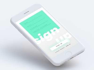 Daily UI 001 - Sign up sketch typography simple minimal clean challenge account create register interface app mobile