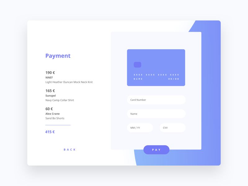 Daily UI 002 - Credit Card Checkout simple shop payment order money minimal interface clean challenge cart