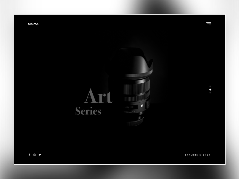 Daily UI 003 - Landing Page elegance white black minimal clean simple photo sigma lens website