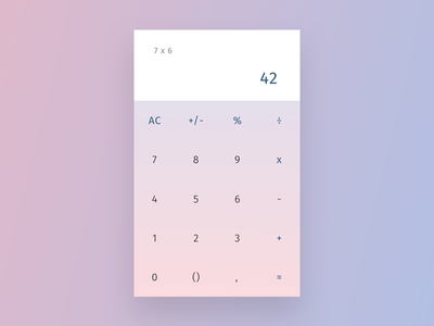 Daily UI 004 - Calculator app standard pastel interface essential clean simple gradient minimal numbers