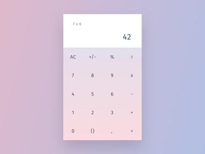 Daily UI 004 - Calculator app standard pastel interface essential clean simple gradient minimal numbers