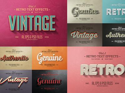 Vintage Text Effects Vol.1 letter effect text text effect wave synthwave typography ui illustration design logo text logo light designposter 80s 3d text 3d