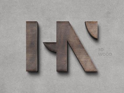 Wooden 3D Logo Mockup 3d effect wood effect text logo effect 3d logo ui illustration design logo text logo light designposter 80s 3d text 3d