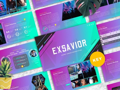 Exsavior - Gaming Template professional slides google google slides keynote presentation powerpoint vector ui graphic design branding illustration design designposter clean simple modern minimal template gaming