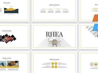 Rhea Presentation Template deck pitch pitch deck easy lookbook professional modern page landing landing page template presentation vector keynote powerpoint graphic design branding illustration design designposter