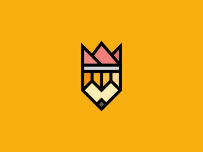 Pencil + Crown Logo pen mark symbol brand designs design logos logo king crown pencil