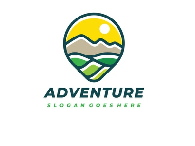 Adventure Logo sports travel landscape outdoor nature mountain journey hiking climbing camping adventure illustration design creative concept branding abstract 3d letter 3d
