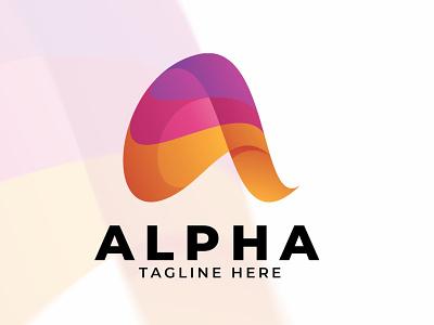 Alpha - Logo Template alphabet alpha effect logo effect text effect logo illustration abstract design creative concept branding 3d letter 3d