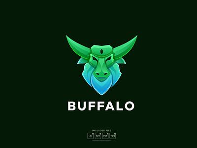 Buffalo gradient colorful logo template mockup logo vector vector illustration logo motion graphics graphic design 3d animation ui abstract design creative concept branding 3d letter