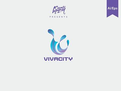 Vivacity Logo Template motion graphics graphic design 3d animation vector mockup vector ui logo illustration abstract design creative concept branding 3d letter