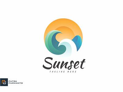 Sunset - Logo Template motion graphics graphic design 3d animation ui vector logo illustration abstract design creative concept branding 3d letter sunset