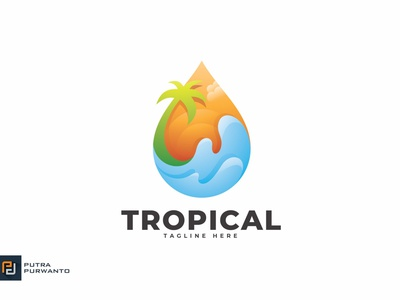 Tropical - Logo Template mockup motion graphics graphic design 3d animation ui vector logo illustration abstract design creative concept branding 3d letter tropical