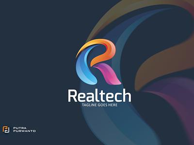 Realtech - Logo Template motion graphics graphic design 3d animation vector ui illustration abstract design creative concept branding 3d letter logo logo template