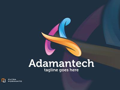 Adamantech / Letter A - Logo Template synthwave motion graphics graphic design 3d animation logo template vector ui logo illustration abstract design creative concept branding 3d letter