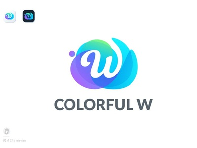 Colorful W logo template mockup vector illustration abstract design logo motion graphics graphic design 3d animation ui creative concept branding 3d letter logo template colorful