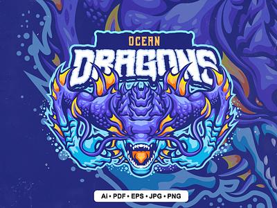 Ocean Dragon Logo mockup sport mockup vector motion graphics graphic design 3d animation ui logo illustration abstract design creative concept branding 3d letter template ocean dragon ocean
