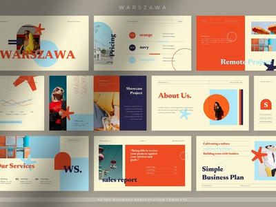 Warszawa - Bright Retro Business annual annual report presentation template keynote cataloge pitch deck google slides slides vector powerpoint abstract illustration design concept branding creative presentation business retro bright