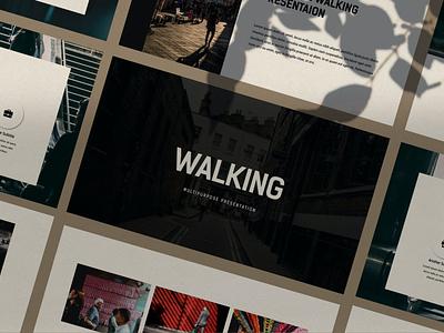 Walking portfolio graphic design web maintance web development annual report purpose multipurpose powerpoint abstract illustration design concept branding creative keynote pitch deck google slides google slides walking