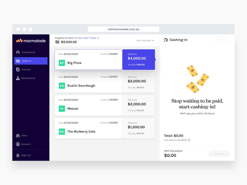 Marmalade Cashing-in UI branding app illustration webdesign design ui