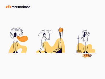 Marmalade Illustrations by Rob Dennis branding illustration