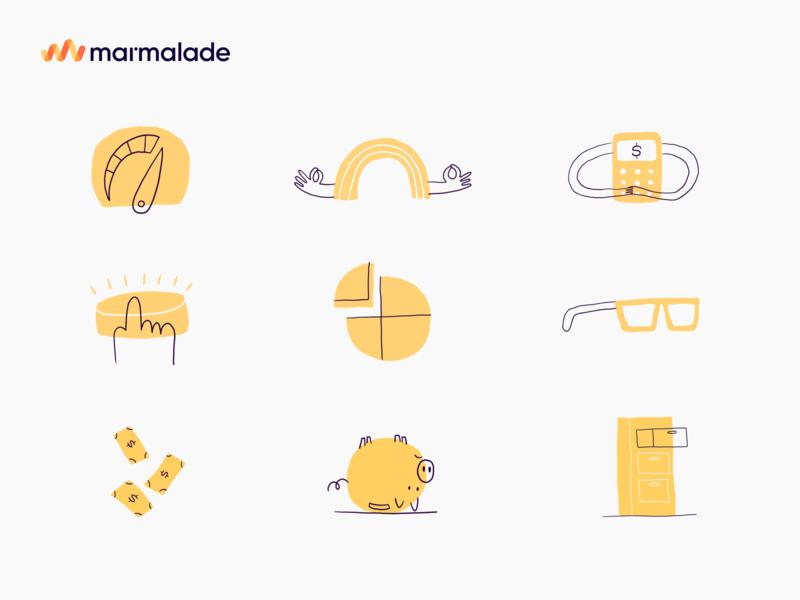 Marmalade Hand drawn icons by Rob Dennis illustration branding