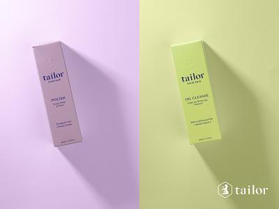 Tailor Skin pastels redesign minimal clean skincare typography design logo branding