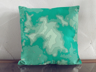 Topographic Green Cushion square cushion home decor topography solehab pillow home design cushion