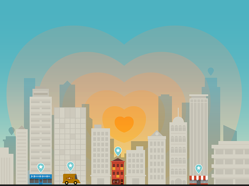 Heart of the city branding start-up geo-tag love heart illustration city