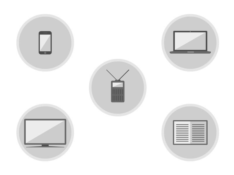 Media Icons greyscale black and white devices book computer radio media icons