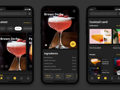 Bartender - app ios mobile design uiux bartenders dark app cocktails mobile app