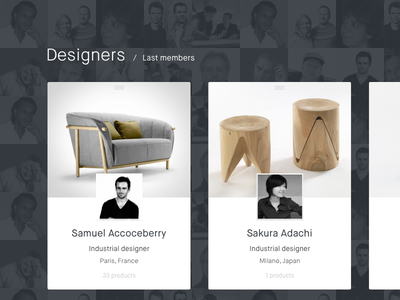 Designer cards ux user interface experience profile ui design card designers