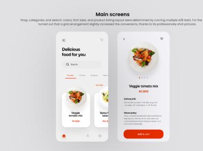 Food Delivery App UI design Main Screens icon branding uiapp ux ui design graphic design