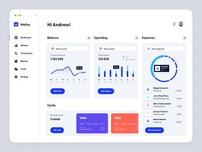 Wallny - A dashboard concept light wallet financial clean interface finance web panel design app ux dashboard ui
